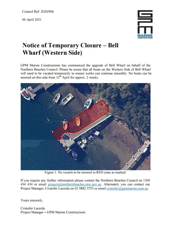 Notice of Temporary Closure: Bell Wharf
