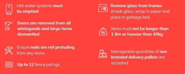 Bulky goods service instructions
